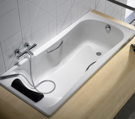 Alternate image of Roca BeCool 1700 x 700mm Rectangular Acrylic Bath With Grips And Headrest