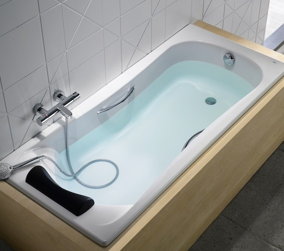 Additional image of Roca BeCool 1700 x 700mm Rectangular Acrylic Bath With Grips And Headrest