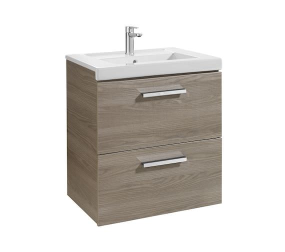 Roca Prisma Unik 600mm Textured Ash 2 Drawer Base Unit With Basin