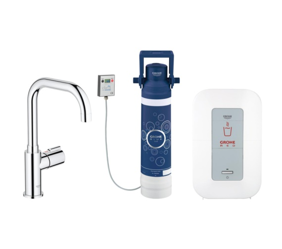 Grohe Red Chrome Mono Pillar Tap With 4 Litre Single-Boiler