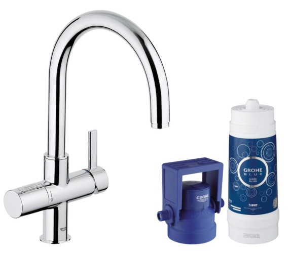 Grohe Blue Single Lever C-Spout Kitchen Sink Mixer Tap With Filter Function