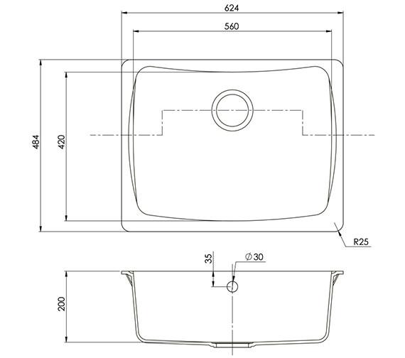 Technical drawing QS-V89095 / ALU10RHHOMESK