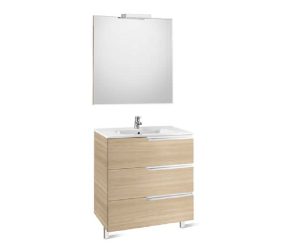 Roca Victoria-N 1000 x 740mm Vanity Unit Pack With Mirror And Spotlight