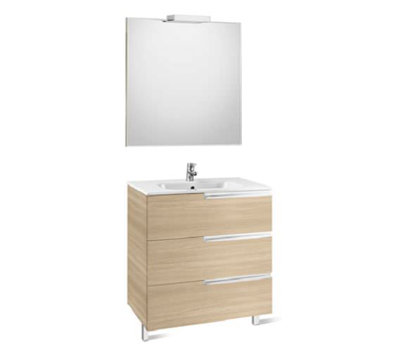 Roca Victoria-N 800 x 740mm Vanity Unit Pack With Mirror And Spotlight
