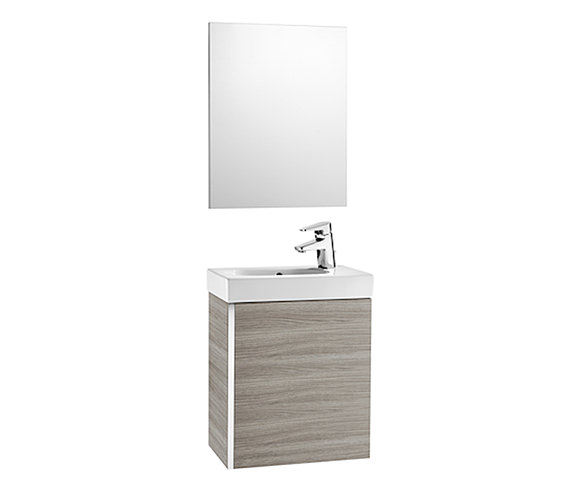 Roca Mini 450mm Vanity Unit With Basin And Mirror Textured Grey Finish