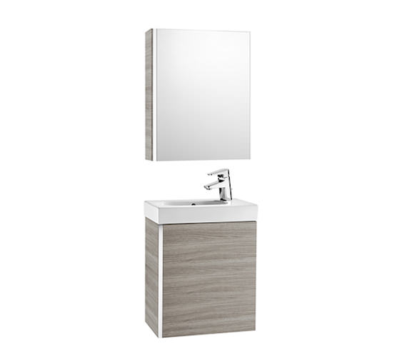 Roca Mini 450mm Vanity Unit With Basin And Mirror Cabinet Textured Grey