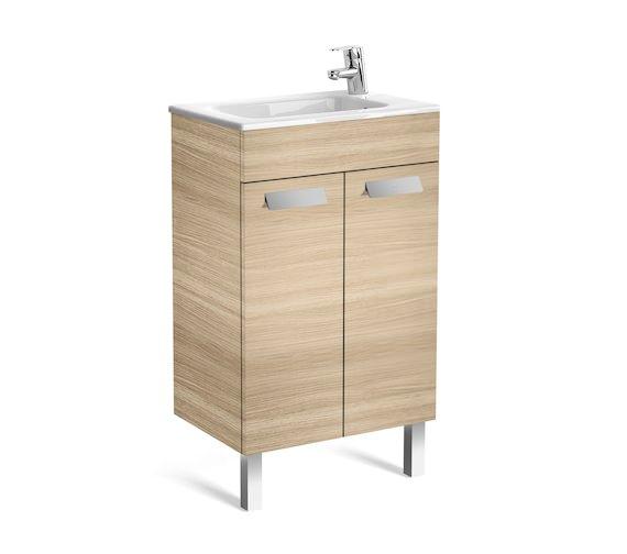 Roca Debba Unik 2 Door 500mm Oak Wall Hung Compact Vanity Unit With Basin