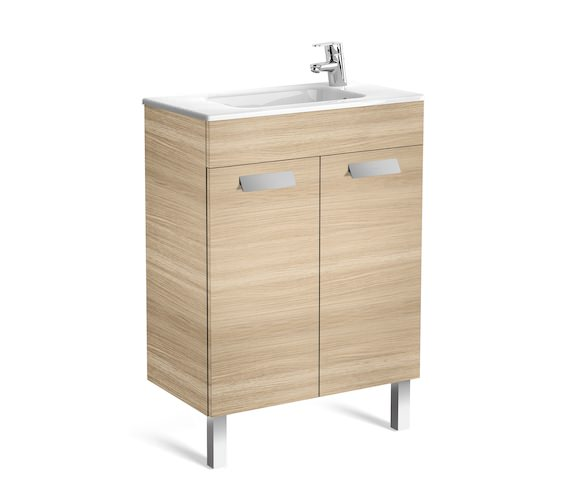 Roca Debba Unik 2 Door 600mm Oak Wall Hung Compact Vanity Unit with Basin