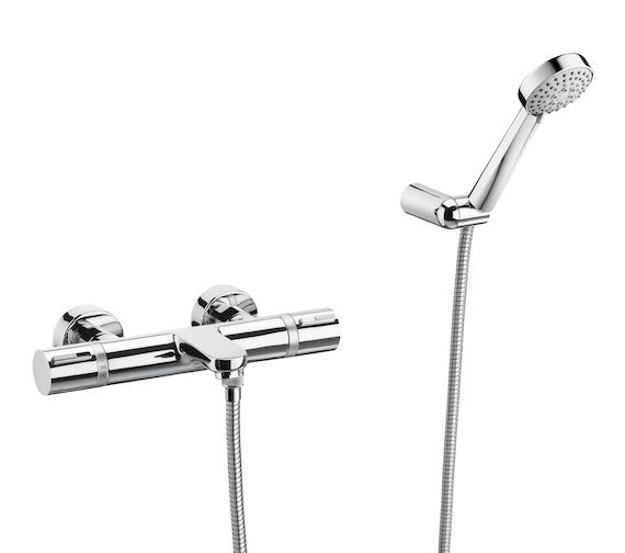 Roca T-1000 Thermostatic Bath Shower Mixer Tap - Wall Mounted