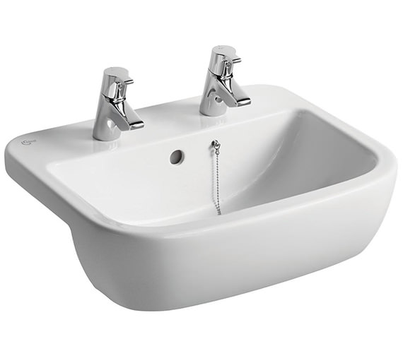 Ideal Standard Tempo 550mm 2 Tap Hole Semi-Countertop Washbasin