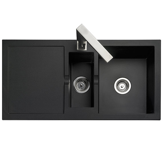 Rangemaster Cubix 985 x 508mm Neo-Rock Granite 1.5 Bowl Black Inset Sink