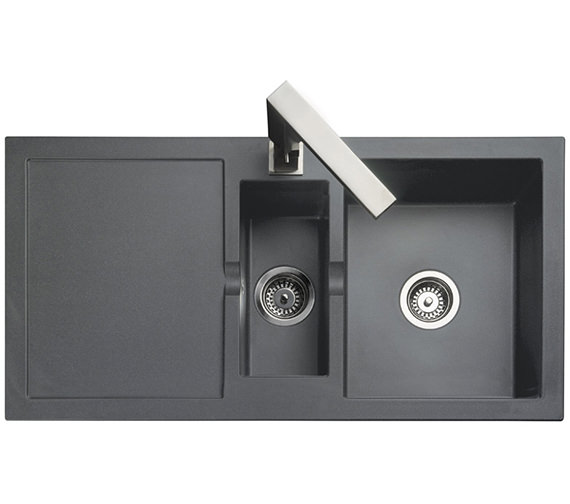 Additional image of Rangemaster Cubix 985 x 508mm Neo-Rock Granite 1.5 Bowl Black Inset Sink