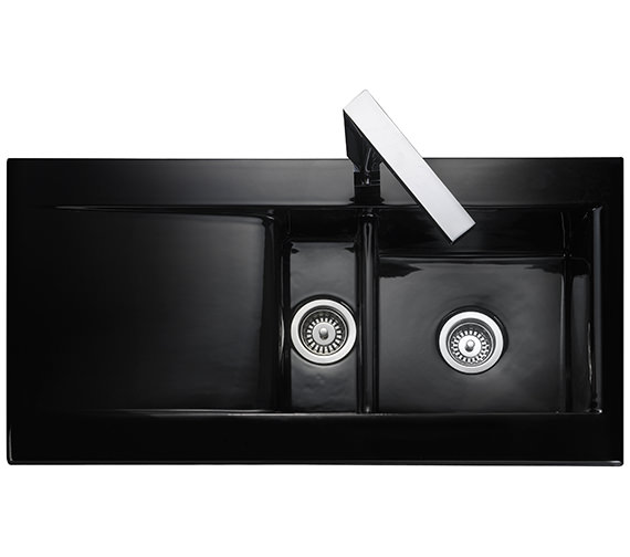 Rangemaster Nevada 1010 x 510mm Fire-Clay Ceramic Black 1.5B Inset Sink