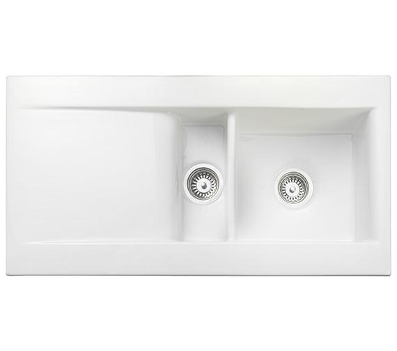 Rangemaster Nevada 1010 x 510mm Fire-Clay Ceramic White 1.5B Inset Sink