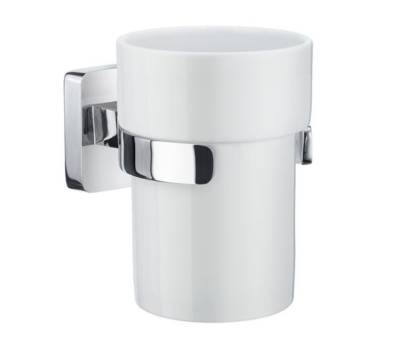 Smedbo Ice Polished Chrome Holder With Porcelain Tumbler
