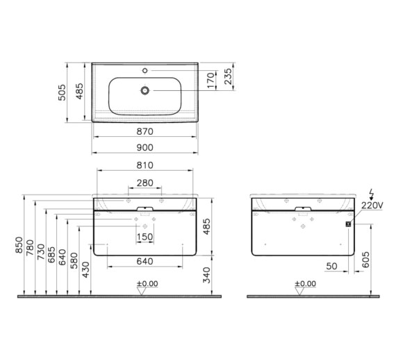 Vitra D-Light 900 x 500mm Matte White Vanity Unit And Basin