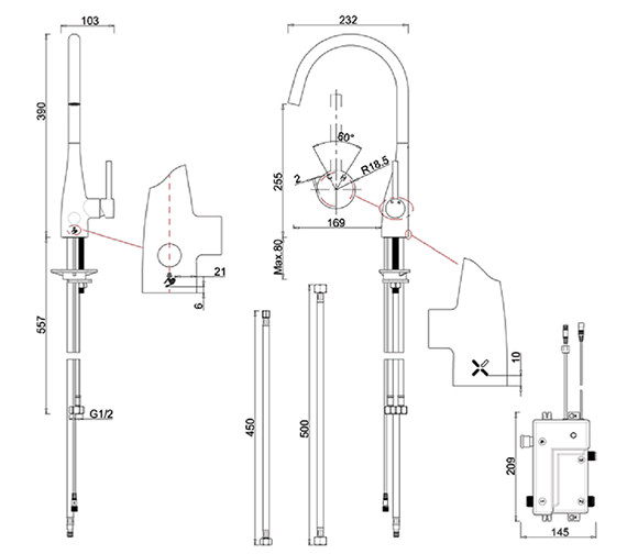 Technical drawing QS-V84536 / COX714DC