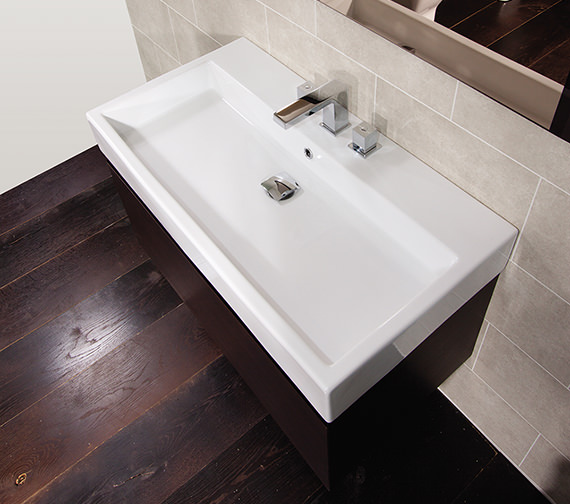Saneux Matteo 600mm Wenge Handleless Drawer Unit With Washbasin