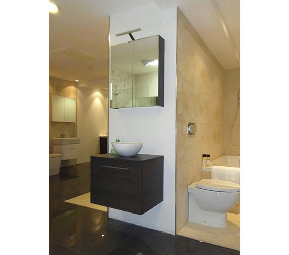 Alternate image of Saneux Austen 600mm Gloss White 2 Door Mirror Cabinet