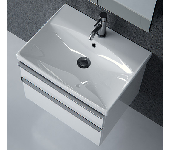 Saneux Prague 600mm Gloss White Unit With Washbasin