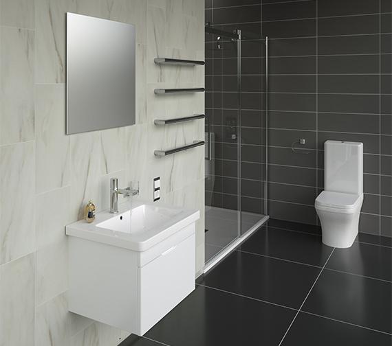 Additional image of Saneux Indigo 600mm Gloss White 1 Tap Hole Washbasin