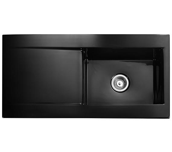 Rangemaster Nevada 1010 x 510mm Fire-Clay Ceramic Black 1.0B Inset Sink