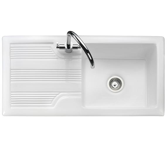 Rangemaster Portland 1010 x 510mm Fire-Clay Ceramic White 1.0B Inset Sink