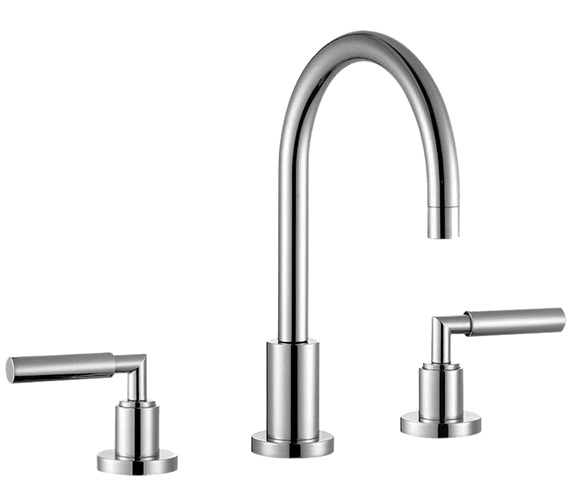 Saneux Tempus 3 Hole Deck Mounted Basin Mixer Tap With Pop-Up Waste
