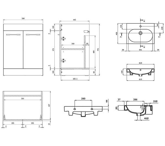 Technical drawing QS-V88233 / AU050F.GW