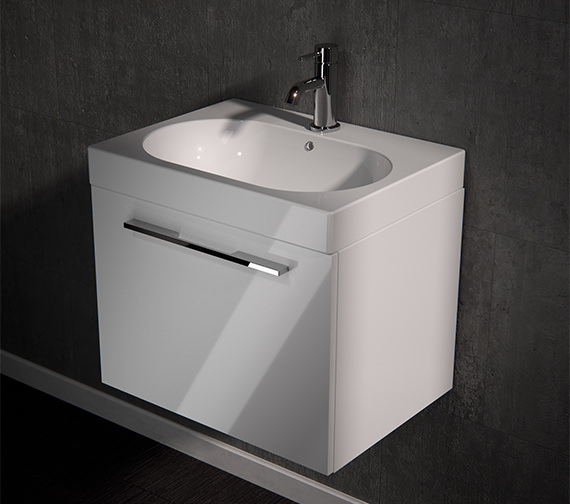 Saneux Austen 600mm Gloss White 1 Drawer Cabinet With Washbasin