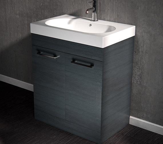 Additional image of Saneux Austen 600mm Alaska 2 Door Cabinet With Washbasin
