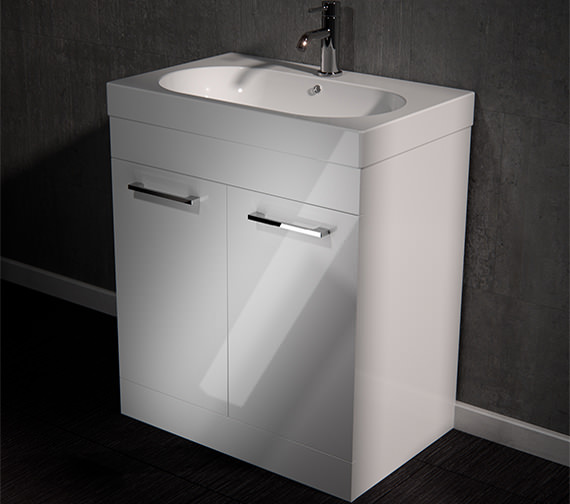 Saneux Austen 700mm Gloss White 2 Door Cabinet With Washbasin