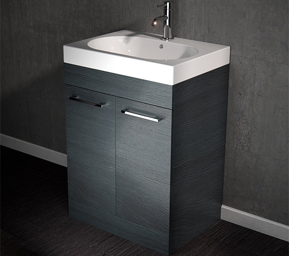 Alternate image of Saneux Austen 700mm Gloss White 2 Door Cabinet With Washbasin