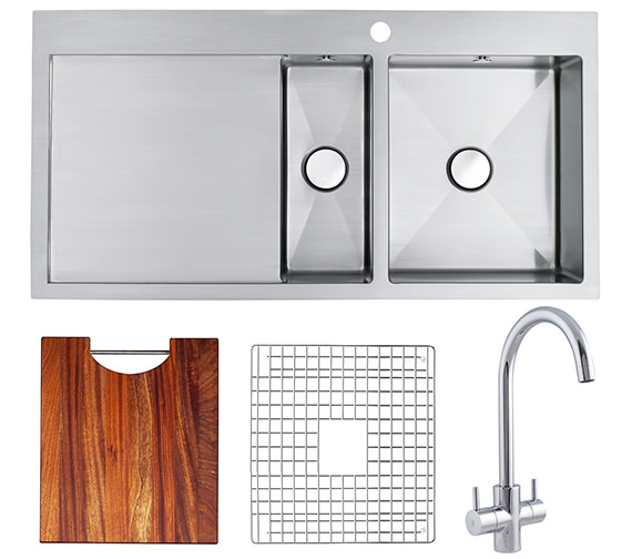 Astracast Vantage 1.5 Bowl Brushed Stainless Steel Inset Sink And Tap Pack