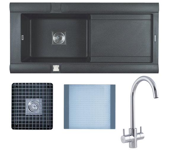 Astracast Geo 1.0 Bowl Composite ROK Metallic Inset Sink And Tap Pack