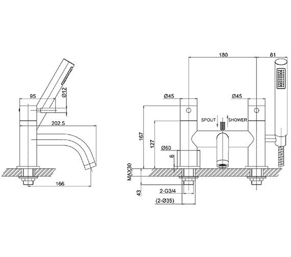 Technical drawing QS-V38147 / DE422DC
