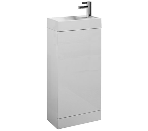 Saneux Quadro Floor Mounted Gloss White Unit With Basin
