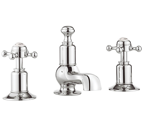 Crosswater Belgravia Crosshead Chrome 3 Hole Deck Mounted Basin Mixer Tap