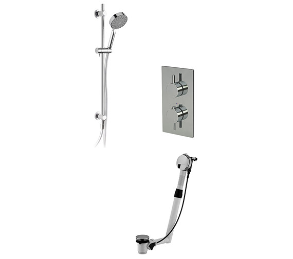 Saneux Cos Thermostatic Valve With Slide Rail Kit And Bath Filler Waste