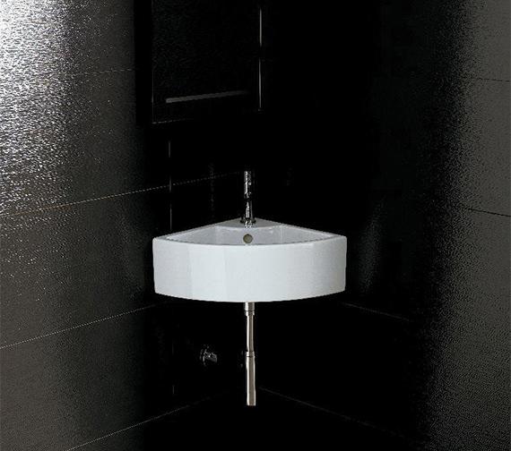 Saneux Quadro 360mm Corner 1 Tap Hole Washbasin