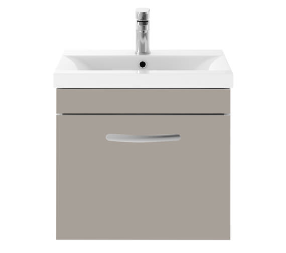 Additional image of Premier Athena 500mm Single Drawer Wall Hung Cabinet With Basin 2 Gloss White