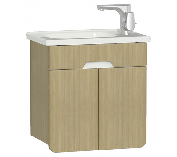 VitrA D Light 500 x 305mm Nautral Oak Vanity Unit With Washbasin