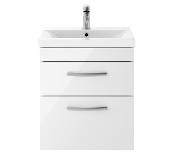 Premier Athena 500mm 2 Drawer Wall Hung Cabinet With Basin 1 Gloss White Finish