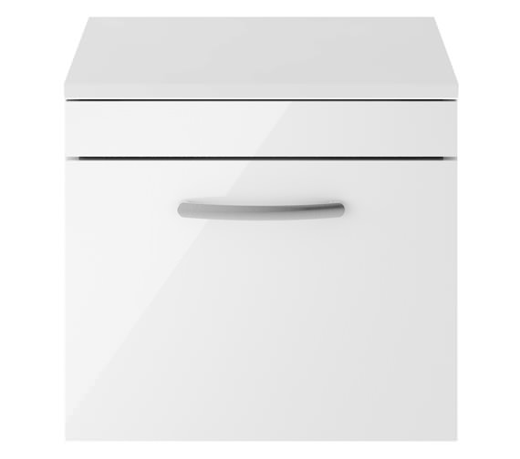 Premier Athena 500mm Single Drawer Wall Hung Cabinet With Worktop Gloss White
