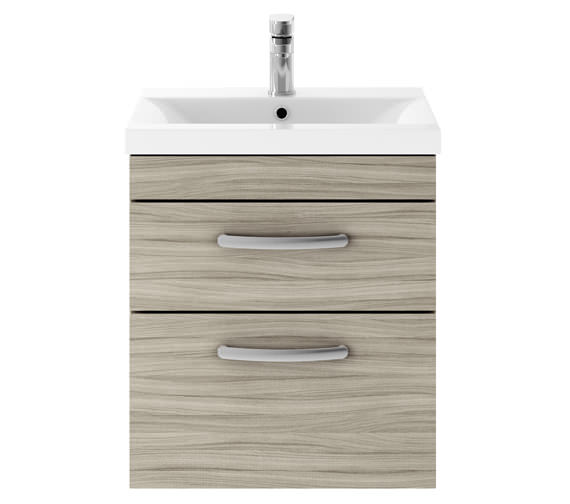 Additional image of Premier Athena Gloss White 500mm 2 Drawer Wall Hung Cabinet With Basin 2