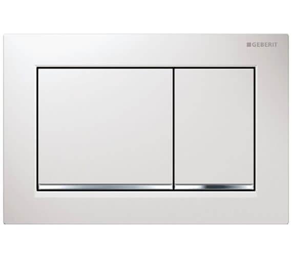Geberit Omega30 212 x 142mm White Gloss Chrome Dual Flush Plate