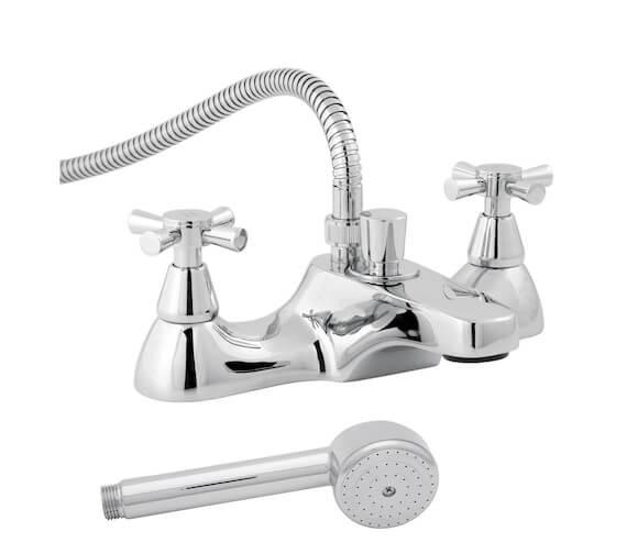Roca Danube Deck-Mounted Bath Shower Mixer Tap With Cross Heads