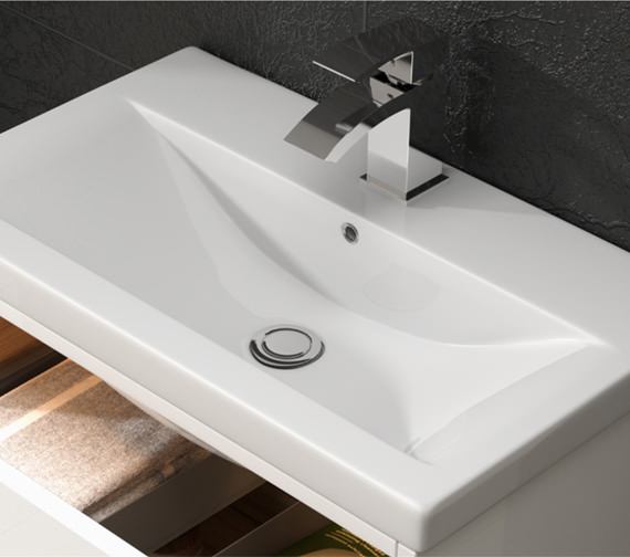 Premier Athena 600mm 2 Drawer Wall Hung Cabinet With Basin 1
