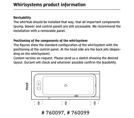 Additional image of Duravit D-Code Built-In Whirltub With Central Outlet