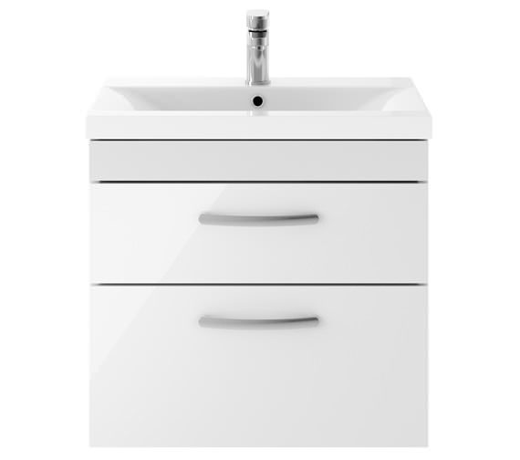 Premier Athena 600mm 2 Drawer Wall Hung Cabinet With Basin 2 Gloss White Finish